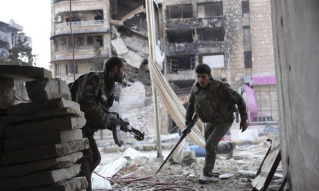Syrian regime fighters during clashes in Aleppo
