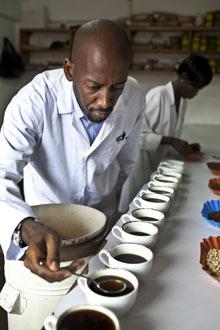 Andrew Rugasira at the Good African coffee company's factory inKampala, Uganda
