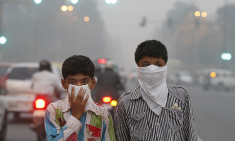 New Delhi children take anti-smog precautions