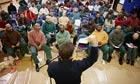 Director Eugene Jarecki talks to Otisville prisoners