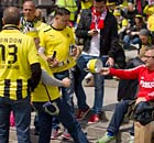 Borussia Dortmund and Bayern Munich fans in Trafalgar Square