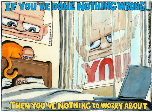 Steve Bell on William Hague's statement about GCHQ and the secret NSA operation