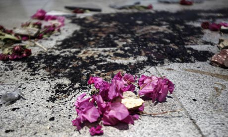 Blood and flowers near Rabaa Adawiya
