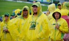 Australian fans wait for play to resume at Old Trafford