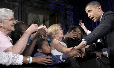 Barack Obama at a Democratic fundraiser in Chicago for Alexi Giannoulias