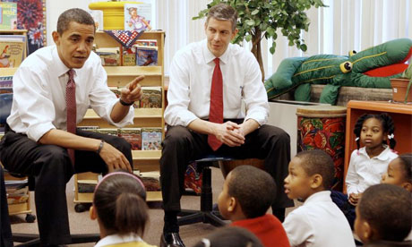 Arne Duncan, secretary of state for education, with President Obama, 2008