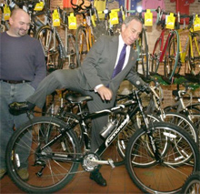 New York Mayor Michael Bloomberg on bike