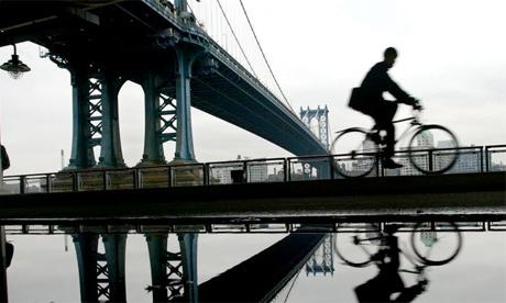 Cyclist Manhattan Bridge New York