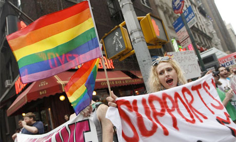 LGBT protest against President Barack Obama for same-sex marriage in New York, 23 June 2011