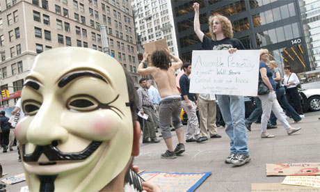 Occupy Wall Street protesters in Liberty Plaza