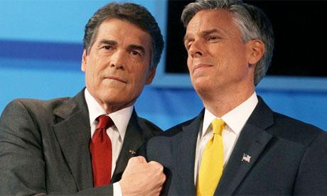 Rick Perry and Jon Huntsman at the Florida GOP debate