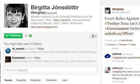 Birgitta Jonsdottir's Twitter account. (photo: Guardian UK)