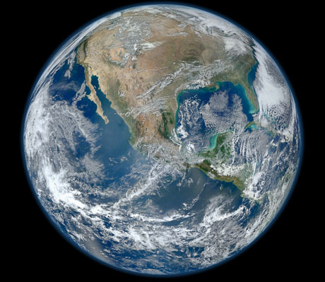 The earth seen from space, 4 January 2012, by Nasa