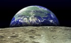 Earth rising over moon