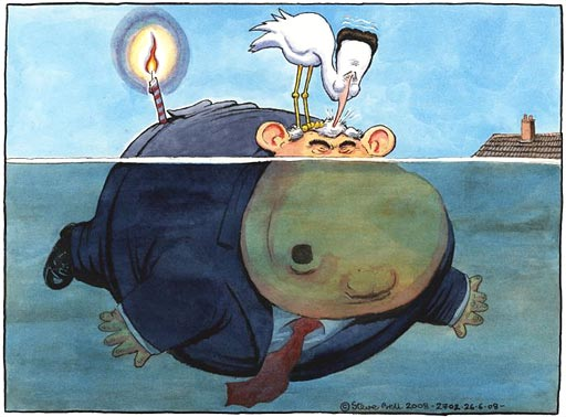 26.06.08: Steve Bell on Gordon Brown's first year as prime minister