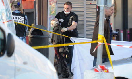 A policeman at the scene in Montauban where three French soldiers were shot dead