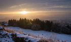 Snow sunset in Derbyshire, Britain - 16 Jan 2013