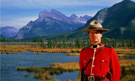A member of the Royal Canadian Mounted Police – or mountie – at Banff national park in Alberta.