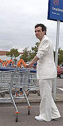 White suit / supermarket / shopping