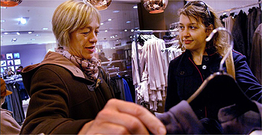 Jackie Ashley shopping for clothes with Hadley Freeman in Topshop