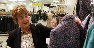 Jean Hinchcliffe chooses clothes in Marks & Spencer, London
