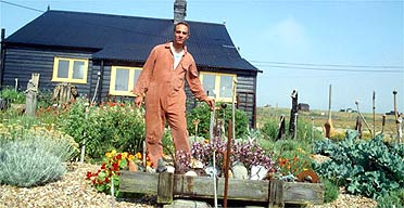 Derek Jarman in the garden at Prospect Cottage, Dungeness, in 1992