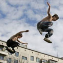 Kids practising parkour in Russia