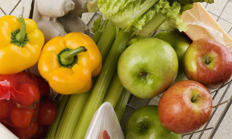 Grcoeries (mainly fruit and veg) in a basket