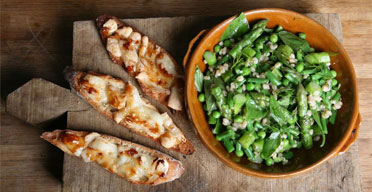 Allegra McEvedy's G2 recipe: barley, asparagus and dill salad. Photograph: Anna Gordon
