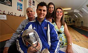 Sabreur Alex O'Connell with his parents