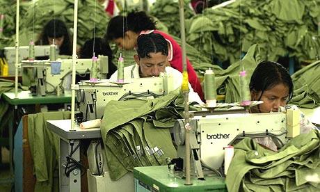 Workers in a Guatemalan sweatshop