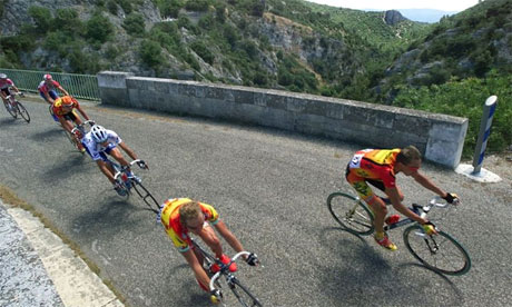 Cyclists tackle Mont Ventoux during a stage of the Tour de France