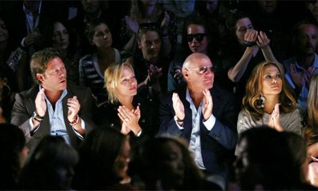 Celebrities Uma Thurman and Jennifer Lopez watching Diane von Furstenber's catwalk show at New York fashion week, 2008