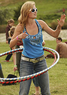 Hula hooping at the Big Chill festival