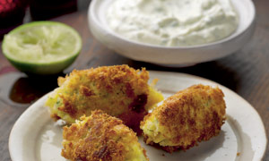 Smoked haddock brandade cakes with lime yoghurt