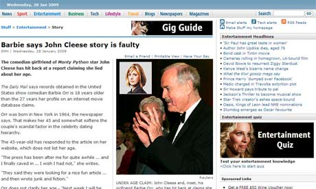 Marina Hyde is linked to John Cleese as a romantic interest on Stuff.co.nz