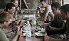 U.S. Marines eat in the mess hall