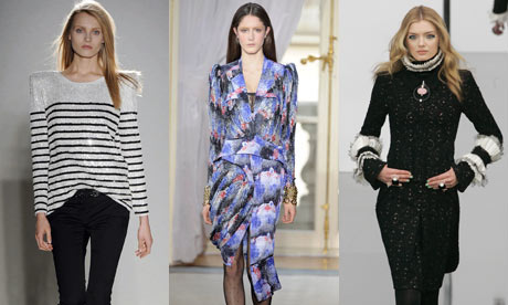 Composite of catwalk looks from Balenciaga, Balmain and Chanel