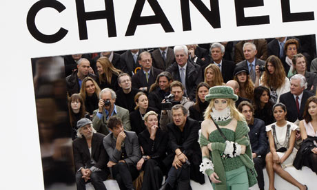 Front row and model at Chanel