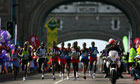 London Marathon runners on Tower Bridge