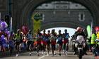 London Marathon runners on Tower Bridge