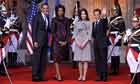 Barack and Michelle Obama meet Nicolas Sarkozy and Carla Bruni-Sarkozy