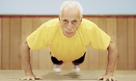 elder doing push ups