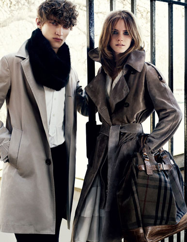 Emma Watson: Emma Watson models for Burberry. A beautiful leather trenchcoat