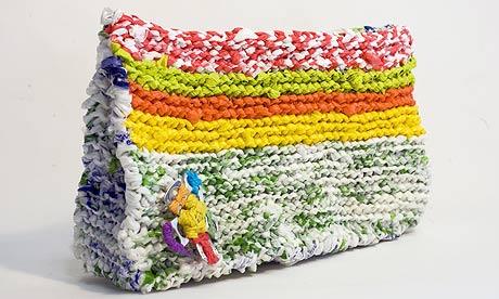 Perri Lewis's bag made from plastic bags