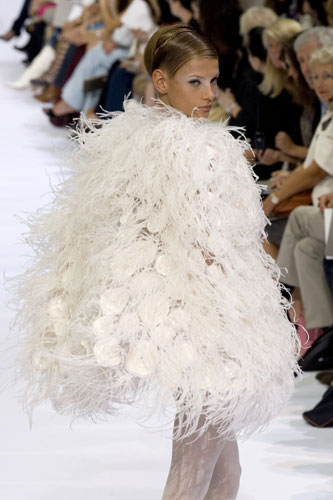 Feathers and frivolity were on show at Elie Saab