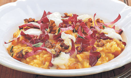Pumpkin risotto with roasted walnuts and gorgonzola