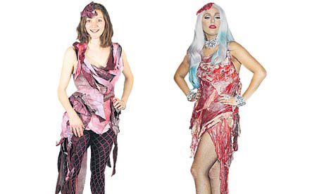 lady gaga meat dress. Lady Gaga meat dress