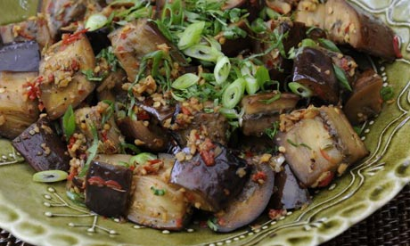Warm, spiced aubergine salad recipe | Summer salads | Life and style ...