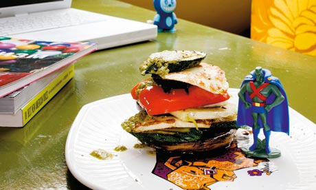Grilled veg stacks with halloumi